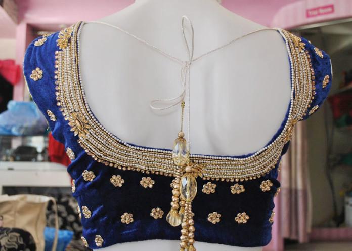 Velvet blouse design