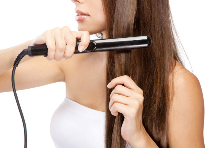 Flat iron your hair