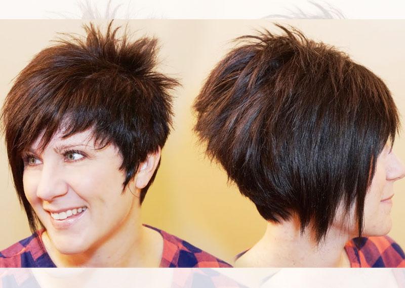 Стрижка асимметричный боб на короткие волосы