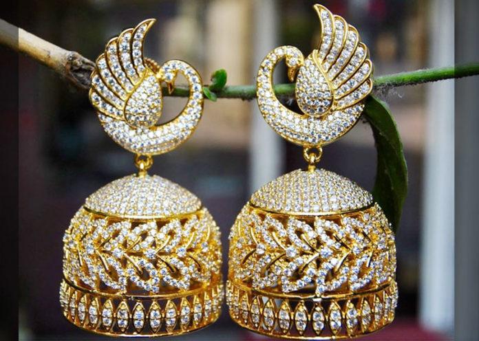 Diamond peacock Jhumkas