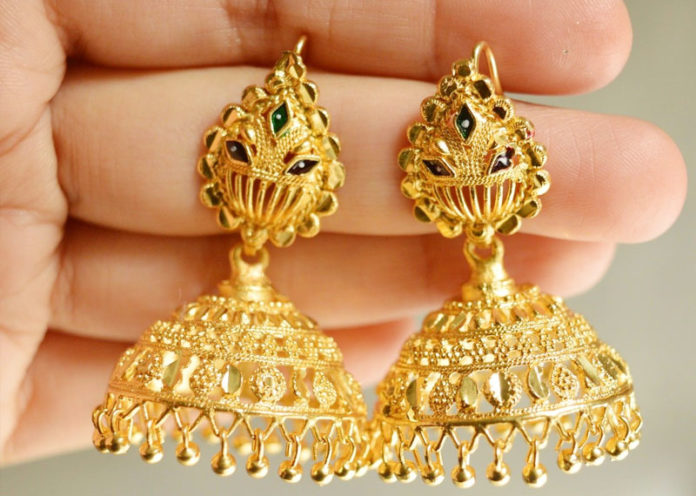 South Indian traditional gold plated jhumka