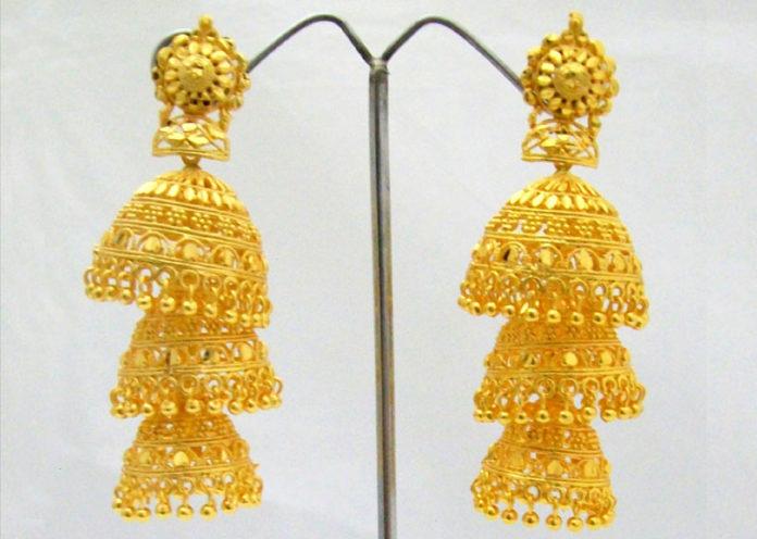 Three layer gold jhumka