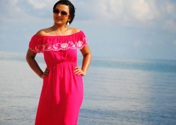 Pink Off-Shoulder Maxi Dress