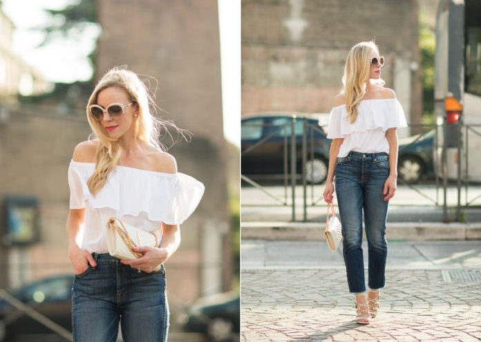 Off-Shoulder White Top With Jeans
