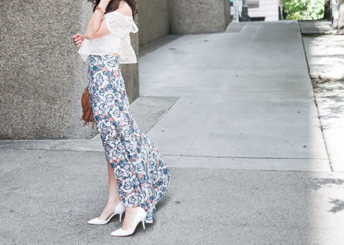 White Off-Shoulder Puffy Blouse With Floral Skirt