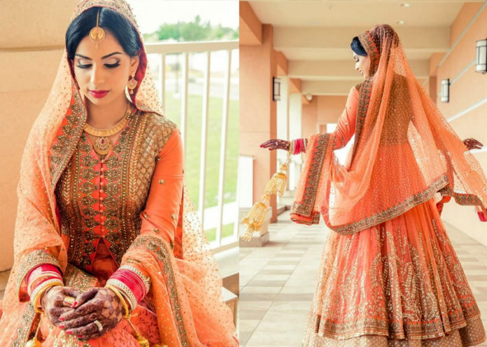 Peachy Orange Lehenga
