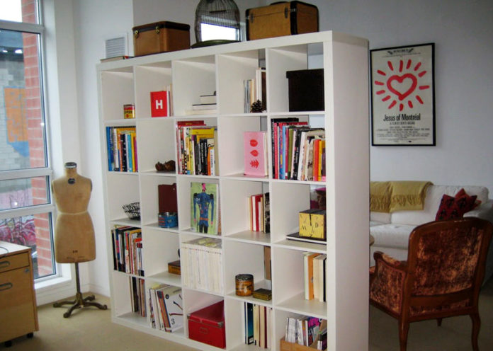 Use open bookcases as dividers