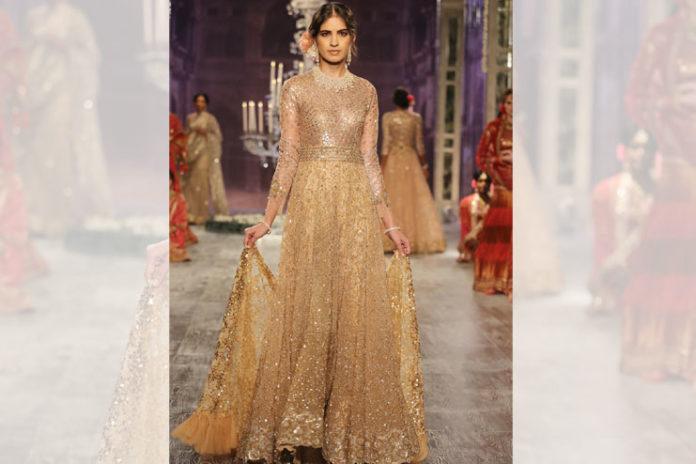 Gold Crystal Bridal Lehenga Saree
