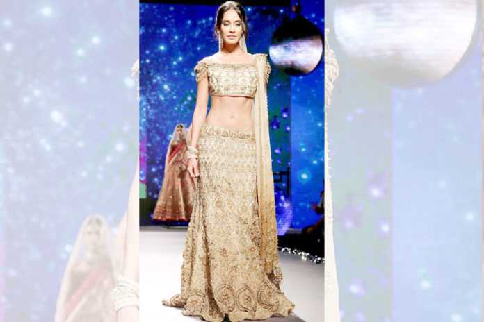 Blush Off-Shoulder Bridal Lehenga