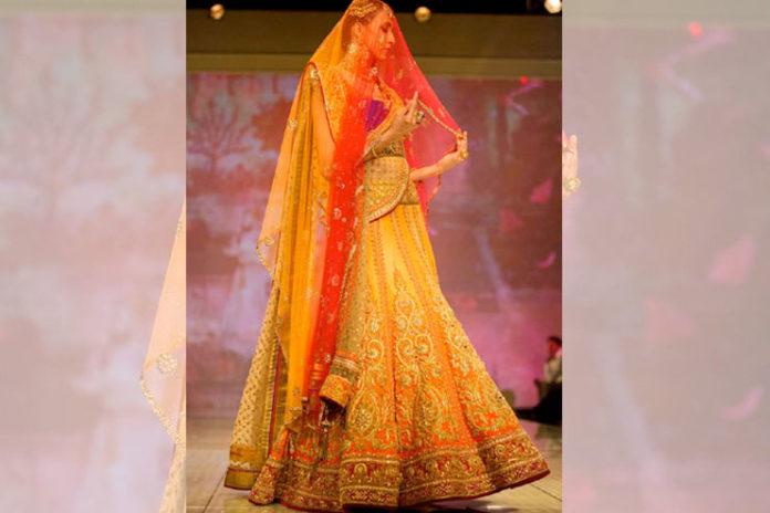 Yellow-Orange Bridal Lehenga