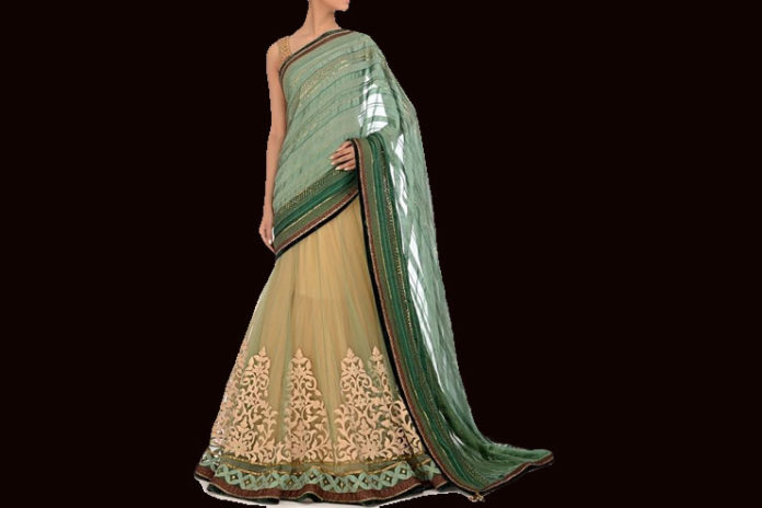 Jade Green Bridal Lehenga Saree