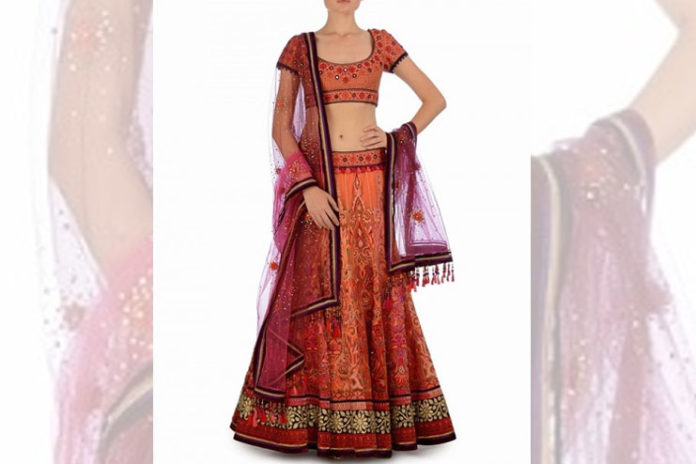 Velvet Applique Bridal Lehenga