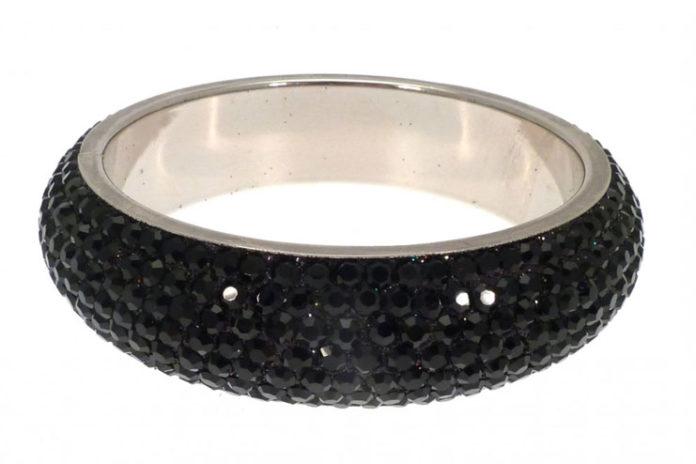 Black crystal embellished bangle