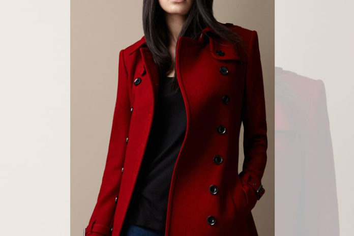 Stylish red trench coat