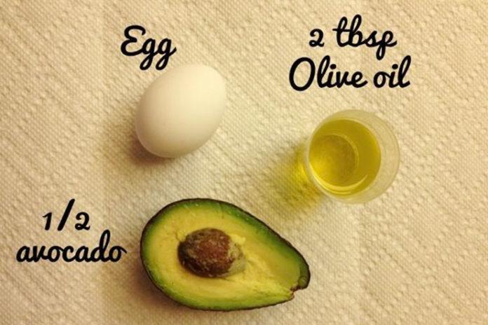 Avocado egg hair mask