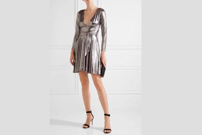 Halston Heritage Stretch Lame Mini Dress