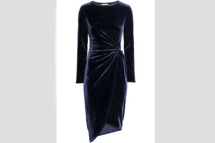 H&M Draped Velvet Dress