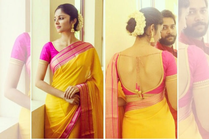 Golden bridal saree with pink blouse