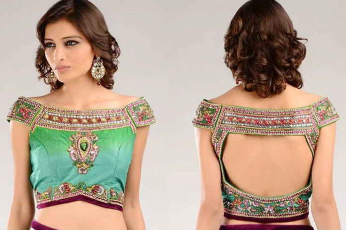 Fancy Back Side Blouse Design