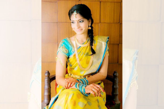 Light blue blouse with yellow silk saree