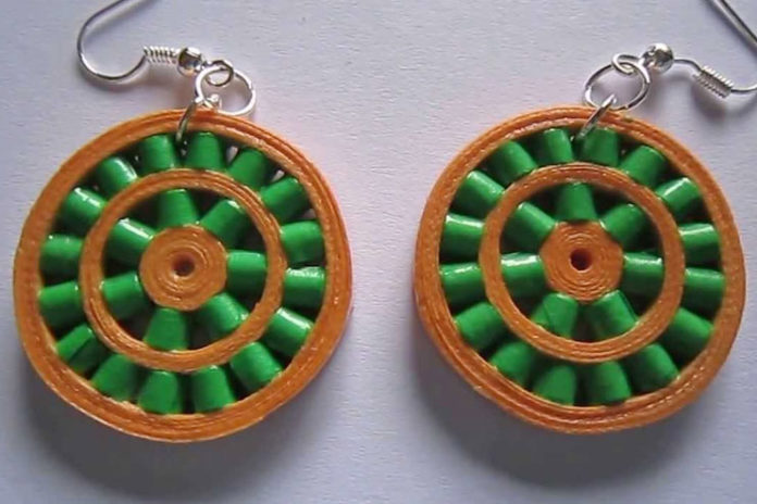 Paper quilling double wheel earrings