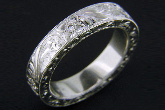 Hand engraved platinum rings
