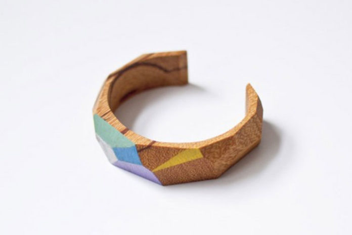 Hand-carved wooden half bracelet