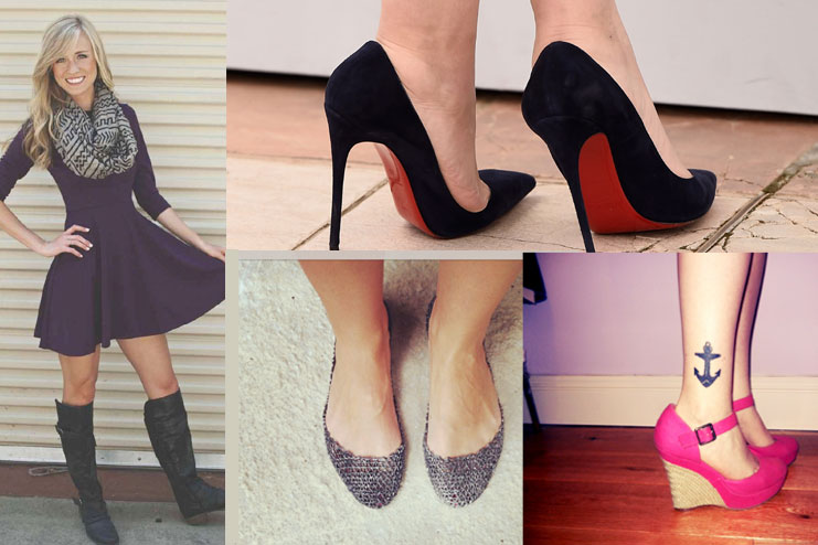 Boots, high heels, sneakers, belle flats and wedges