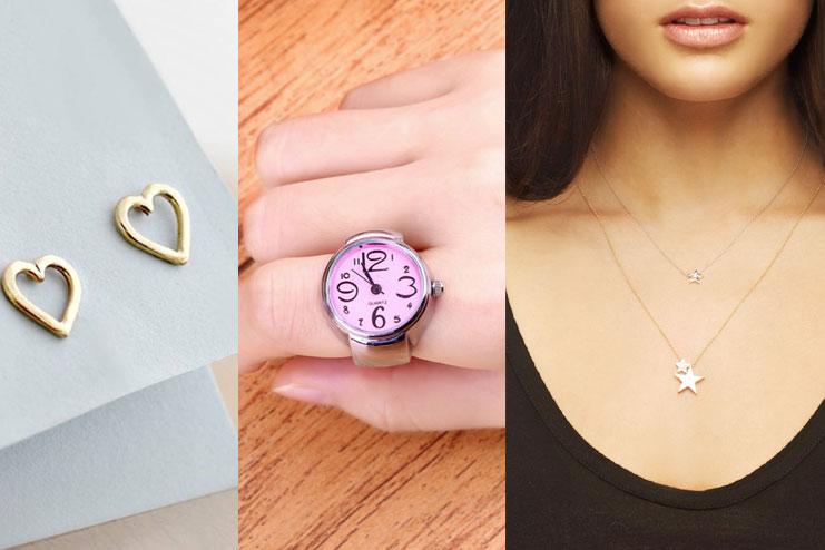 Stud earrings, watch rings, small pendants