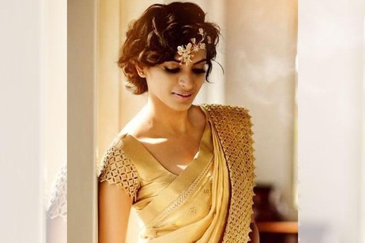 Golden lace bridal blouse design