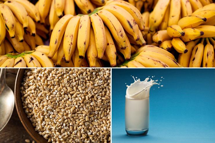 Banana, milk and oats face scrub