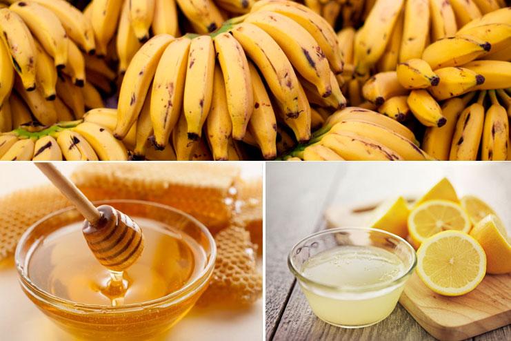 Banana, honey and lemon juice pack