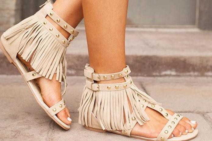 Stud Fringe Sandals