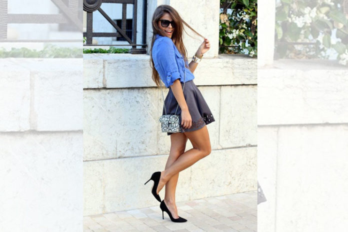 Denim blouse and mini skirt