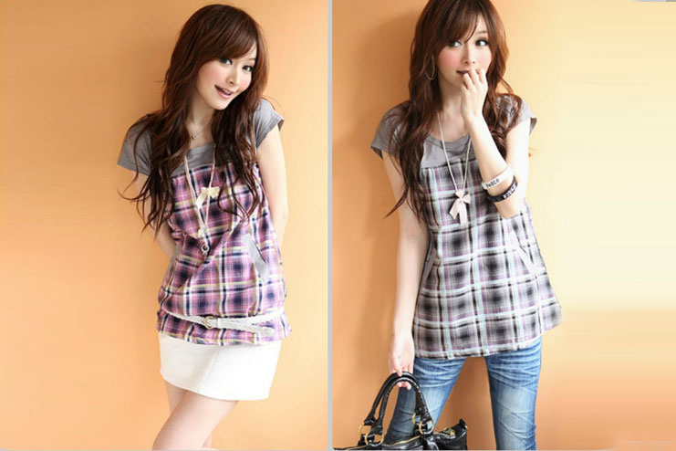 Checked womens tops