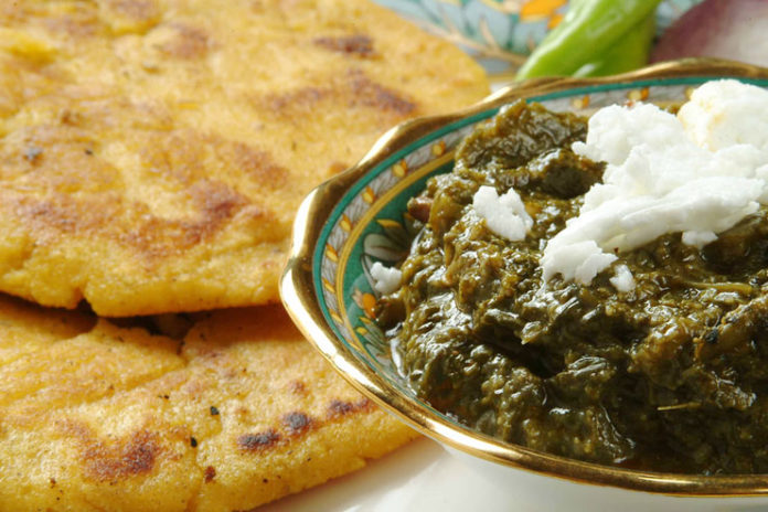 Makki ki Roti, and Sarson ka Saag from Punjab