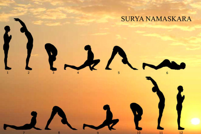Surya namaskar or sun salutation