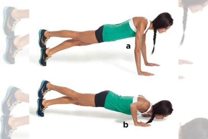 Stacked-foot pushup
