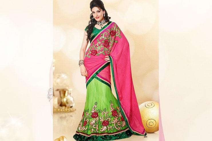 Embroidered lehanga choli saree