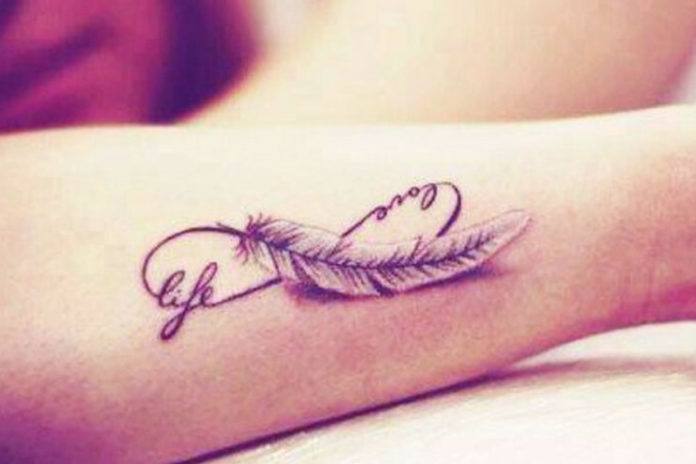 feather quote tattoo