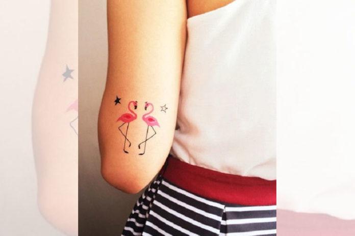Pink flamingo birds with stars tattoos