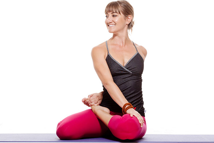 Bharadvajasana or Seated Twist Pose