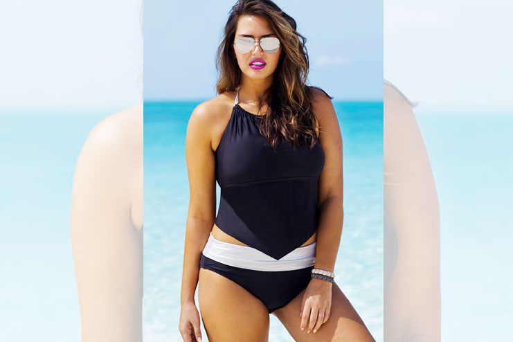 Plus-Size Black And White Beach Wear
