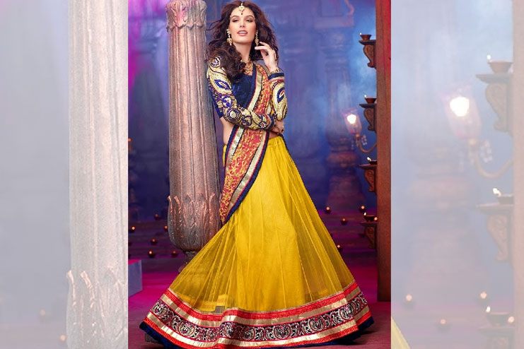 Blue And Yellow Lehenga-Choli Combination
