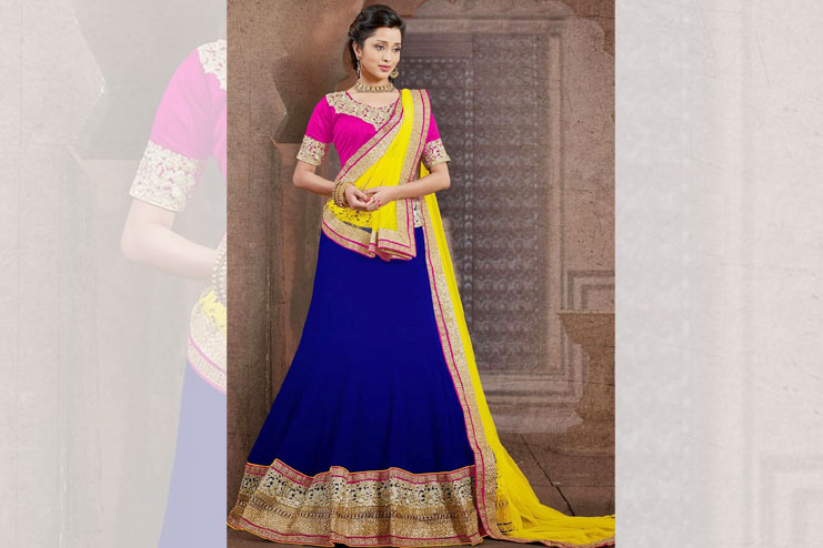 Pink And Blue Lehenga-Choli Combination