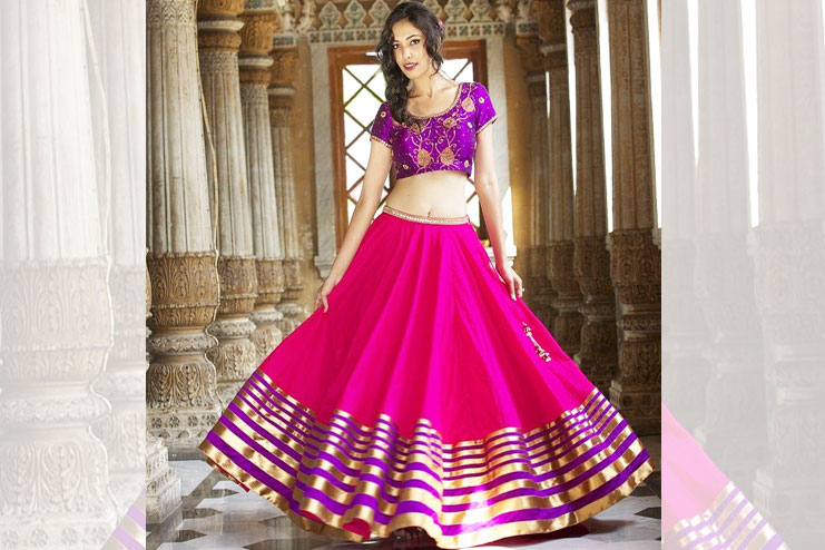 Pink And Purple Lehenga-Choli Combination
