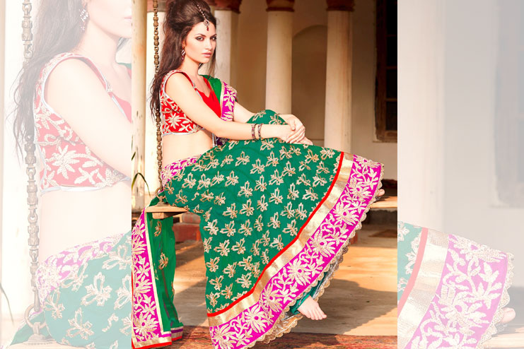 Red And Green Lehenga-Choli Combination