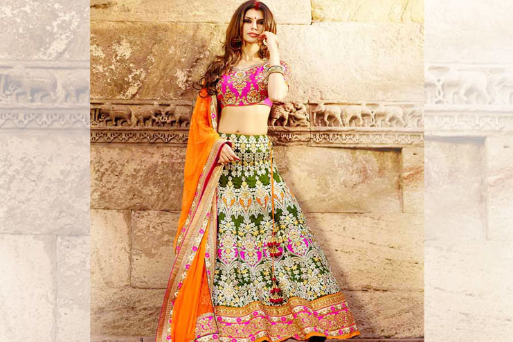 Pink And Green Lehenga-Choli Combination