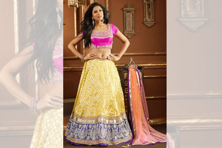 Pink And Yellow Lehenga-Choli Combination