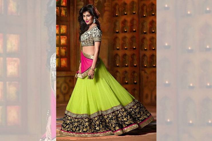 Black And Green Lehenga